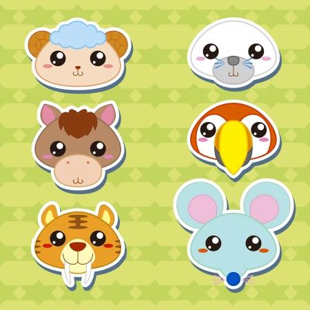 horse laugh: six cute cartoon animal head stickers