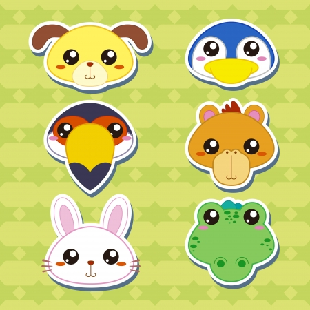 six cute cartoon animal head stickers Vector
