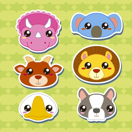 clip art draw: six cute cartoon animal head stickers
