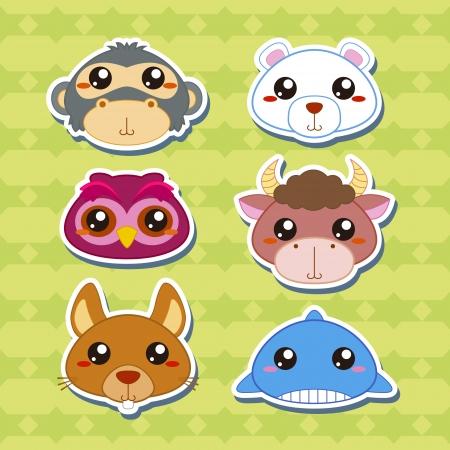 zoo youth: six cute cartoon animal head stickers