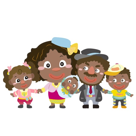 illustration of cute family with white,vector Stock Vector - 18588527