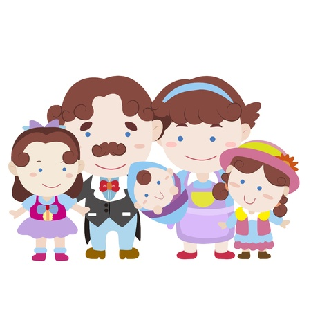 illustration of cute family with white,vector Stock Vector - 18589412