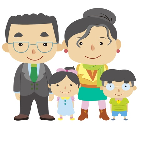 extended family: illustration of cute family with white,vector