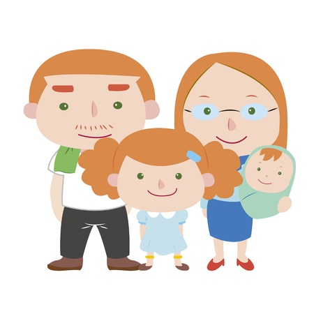 siblings: illustration of cute family with white,vector
