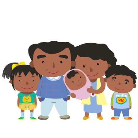 extended: illustration of cute family with white,vector