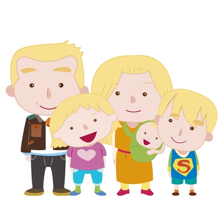 illustration of cute family with white,vector Vector