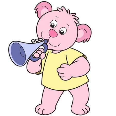 Cartoon Bear playing a trumpet. Vector