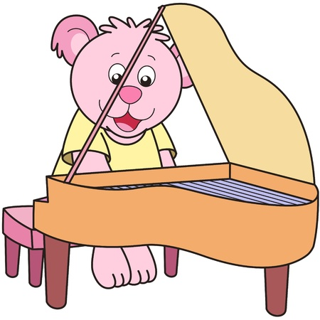 Cartoon Bear playing a piano. Vector