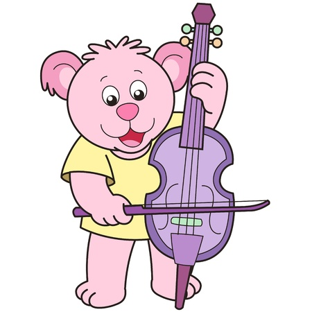Cartoon Bear Playing a Cello Vector