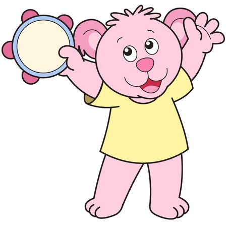 Cartoon Bear playing a tambourine. Vector