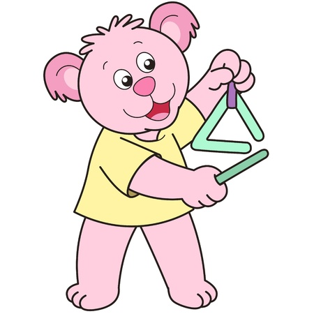 Cartoon Bear playing a triangle. Vector