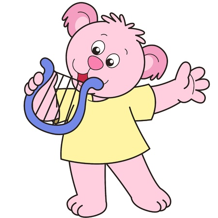 Cartoon Bear playing a harp. Vector
