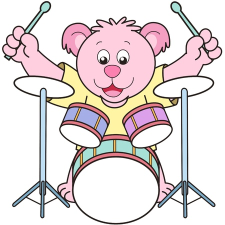 Cartoon Bear Playing Drums Vector
