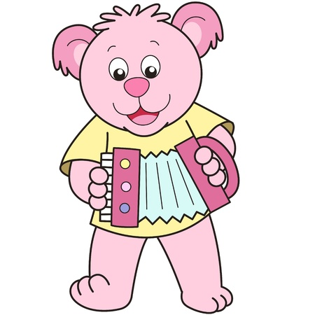 Cartoon Bear playing an accordion. Vector