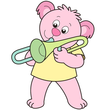Cartoon Bear playing a trombone. Vector