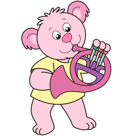 Cartoon Bear playing a French horn. Vector