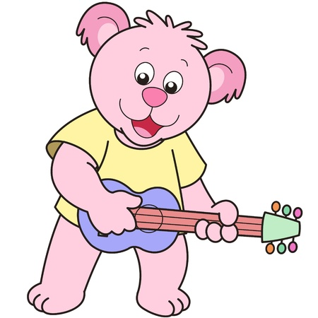 Cartoon Bear playing a guitar. Vector