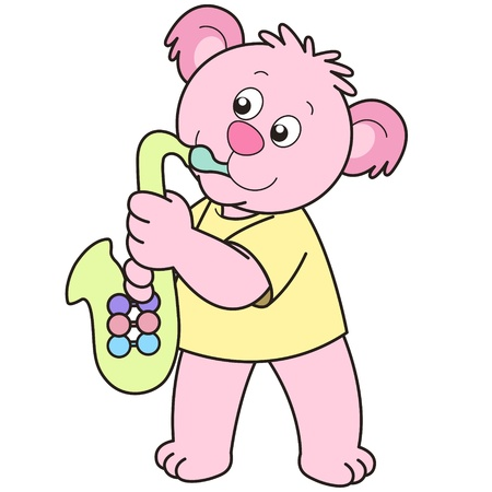 Cartoon Bear playing a saxophone. Vector