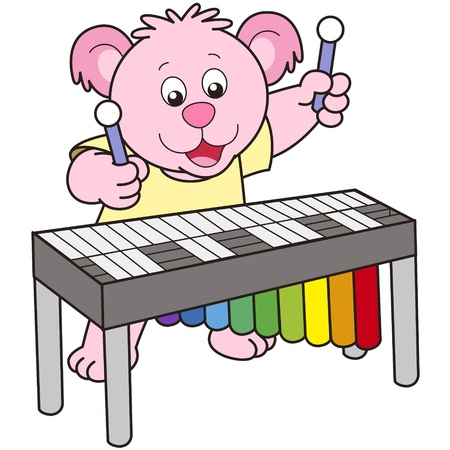 Cartoon Bear playing a vibraphone. Vector