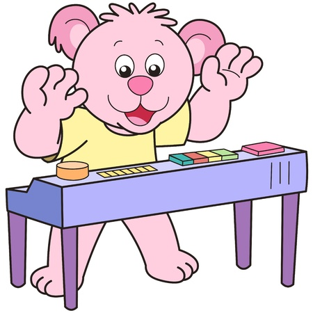 Cartoon Bear playing an electronic organ. Vector