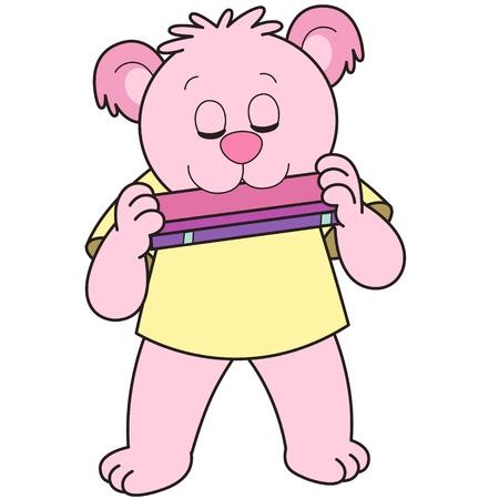 harmonica: Cartoon Bear playing a harmonica.