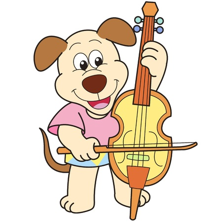 smilling: Cartoon Dog Playing a Cello
