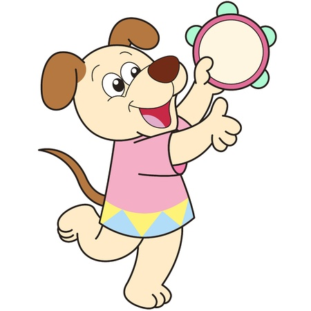 baby cartoon: Cartoon Dog playing a tambourine.
