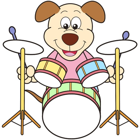 percussionist: Cartoon Dog Playing Drums Illustration
