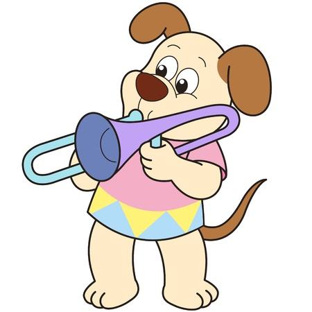 Perro de la historieta que juega un trombón. Ilustración de vector