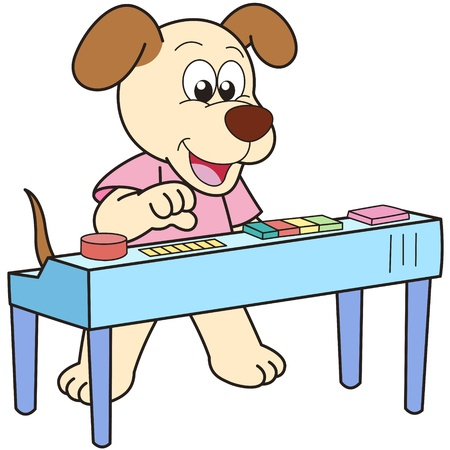 smirking: Cartoon Dog playing an electronic organ.