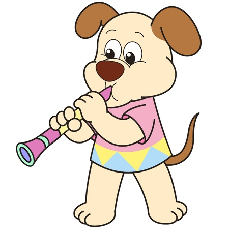 clarinet: Cartoon Dog playing a clarinet.