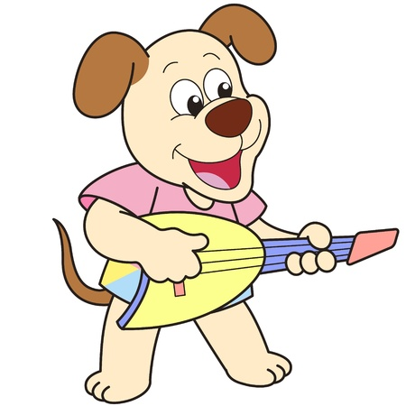 playing the guitar: Cartoon Dog playing an electric guitar.