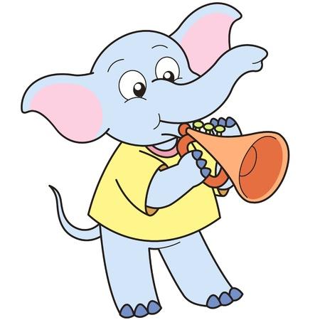 Cartoon Elephant playing a trumpet.