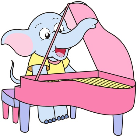 elephant cartoon: Cartoon Elefante suonare un pianoforte.