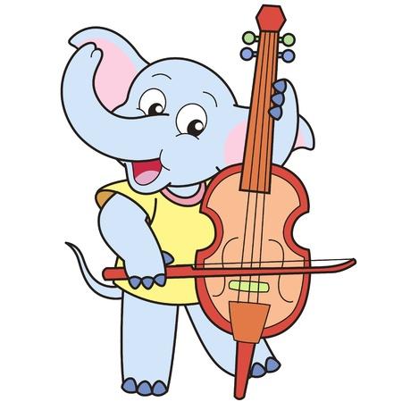 Cartoon Elephant Playing a Cello