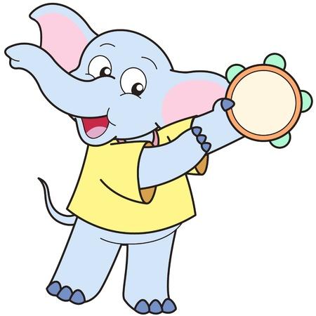 pandero: Cartoon Elephant jugar una pandereta.