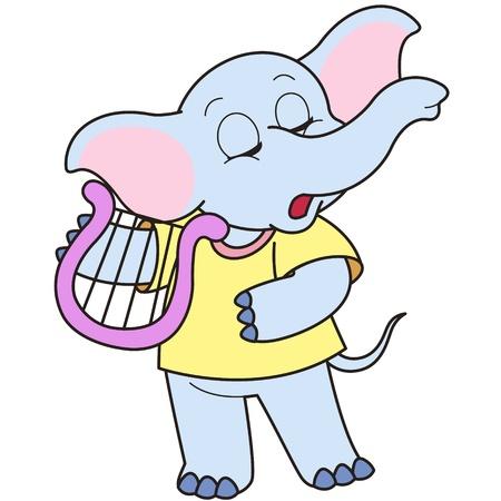 Cartoon Elephant playing a harp.