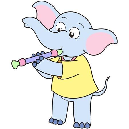 oboe: Cartoon Elephant playing an oboe.