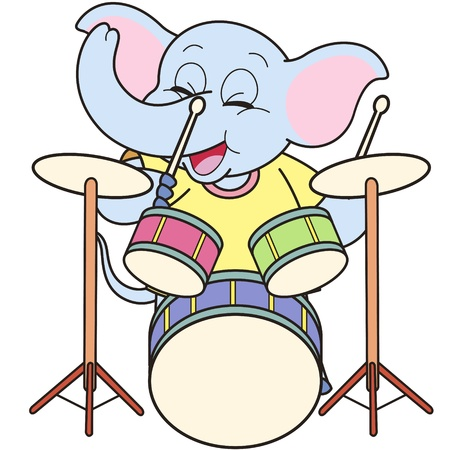 percussionist: Cartoon Elephant Playing Drums Illustration