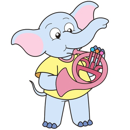 playing music: Cartoon Elephant playing a French horn. Illustration