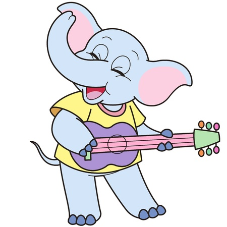 guitarist: Cartoon Elephant playing a guitar.