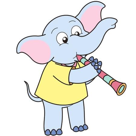 Cartoon Elephant playing a clarinet. Vector