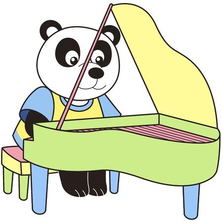 piano player: Cartoon Panda playing a piano