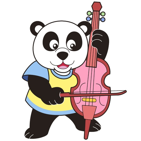 Cartoon Panda Playing a Cello Vector