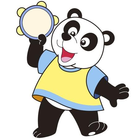 pandero: Cartoon Panda que juega la pandereta Vectores