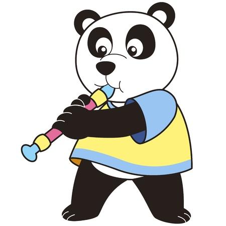 oboe: Cartoon Panda playing an oboe