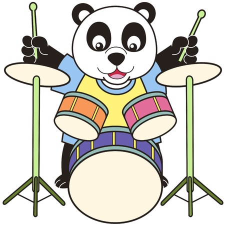 Cartoon Panda Playing Drums Vector