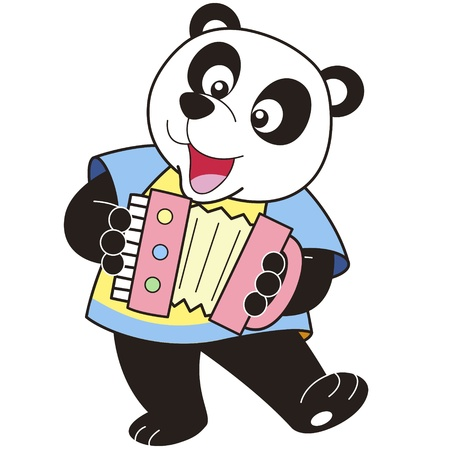 Cartoon Panda playing an accordion  Vector