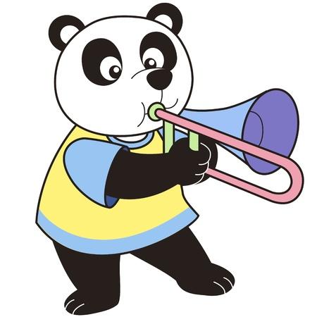 trombone: Cartoon Panda playing a trombone  Illustration