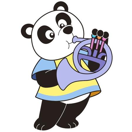 baby: Cartoon Panda playing a French horn